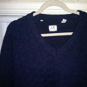 3D square-knit alpaca-blend Vneck sweater